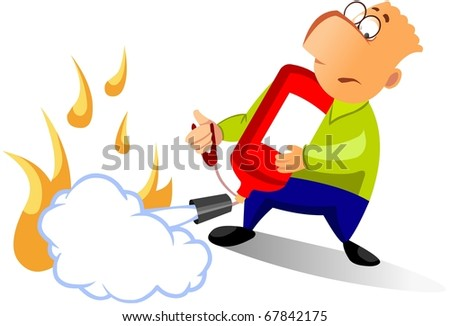 Man using fire extinguisher for putting out a fire. - stock photo