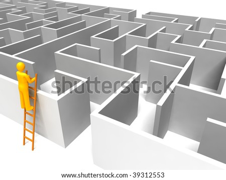 Man using ladder looking for maze solution - stock photo