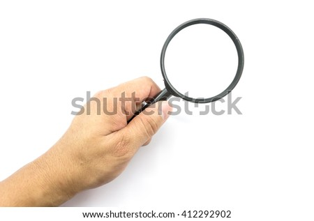 Man using magnifying glass