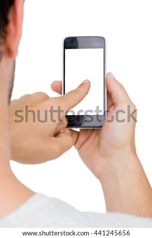 Man using mobile phone on white background