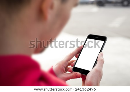 Man using mobile smartphone. Shot with third-person view, blank screen. iphon 6 style - stock photo