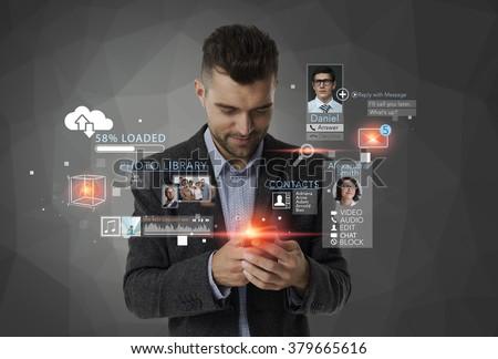 Man using mobile technology - stock photo