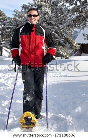 Man using monoski - stock photo