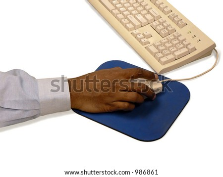 Man using mouse - stock photo