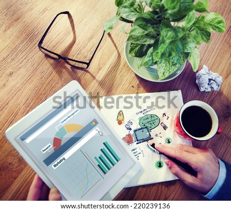 Man using Tablet with Social Communication Concept - stock photo