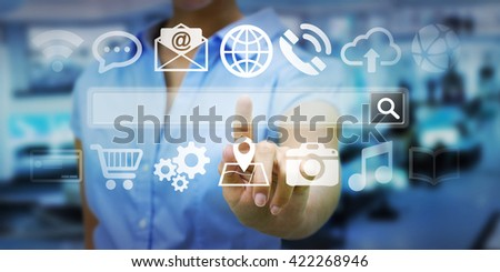 Man using tactile interface web address bar to surf on internet
