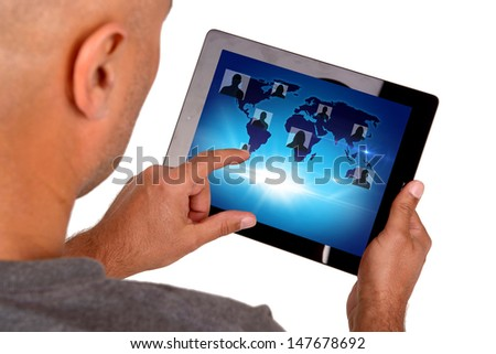 man using touchscreen isolated in white - stock photo