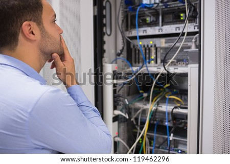 Man viewing the data store and thinking