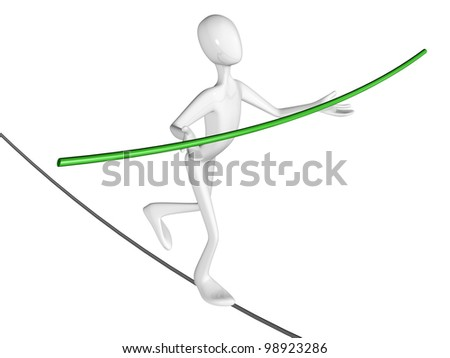Man walk the walk the tightrope isolated on white background. - stock photo