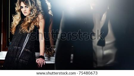 man walking away from woman - stock photo