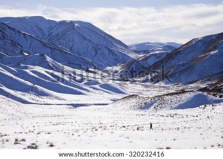 Man walking his dog amongst snow covered a South Island Landscape, Canterbury, New Zealand - stock photo