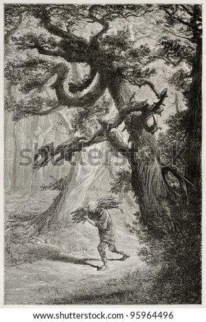 Man walking  in the forest among old cedars, carrying wood on his shoulder. Created by Neuville after Japanese sketch by unknown author, published on Le Tour Du Monde, Ed. Hachette, Paris, 1867 - stock photo