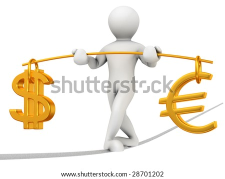 Man walking on a rope. Balance of dollar and euro - stock photo
