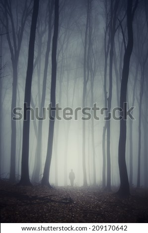 man walking on path through spooky dark forest - stock photo