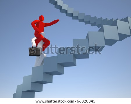 Man walking on stairway with another man on shoulders - stock photo