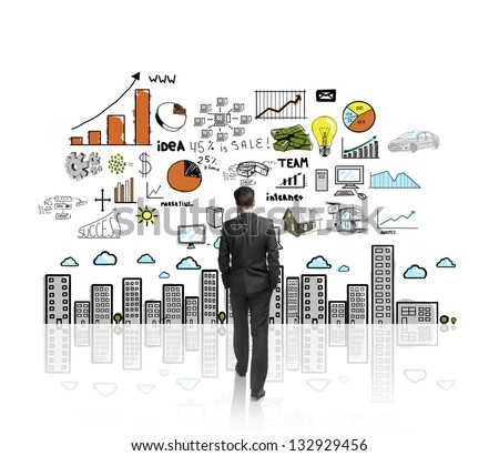 man walking to drawing color concept city - stock photo