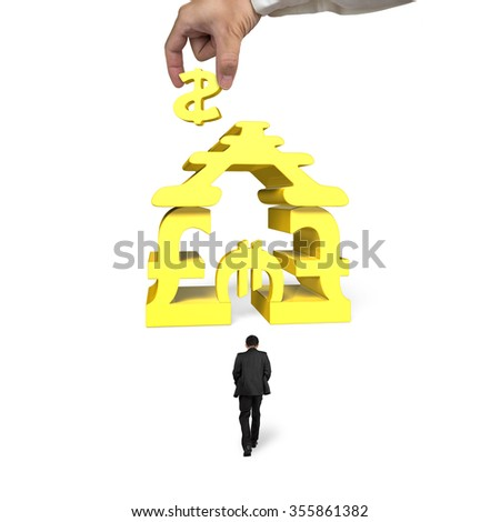 Man walking toward golden money symbols house shape building with hand holding dollar sign, isolated on white background. - stock photo