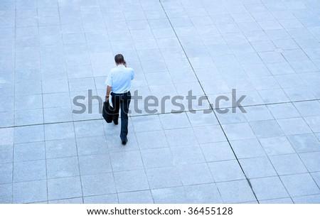 Man walking toward the future - stock photo