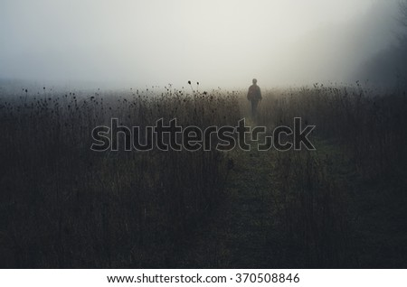 man wandering in nature - stock photo