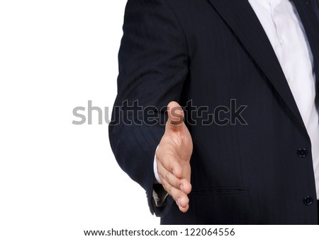 Man want to have hand shake - stock photo