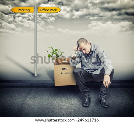 Man was made redundant and leaves - stock photo