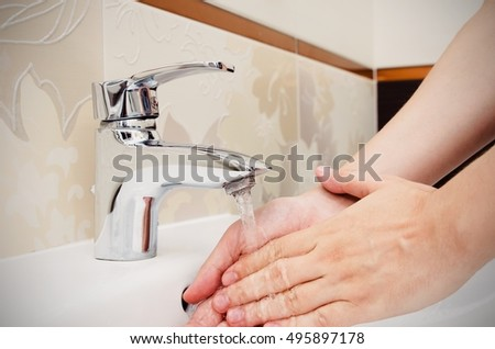 Man Washing Hands Bathroom Utilities Water Stock Photo - Bathroom utilities