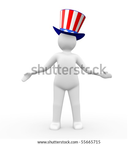 Man wearing a hat with american flag theme - stock photo
