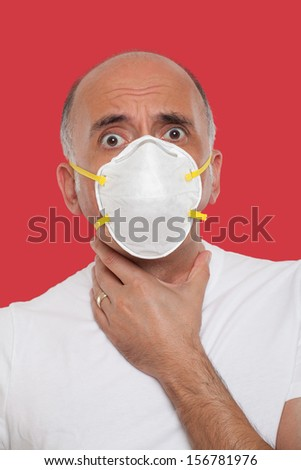 Man wearing a mask protection - stock photo