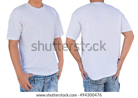 Man wearing blank white color t-shirt with clipping path, front and back view. Template for insert logo, pattern, or artwork.