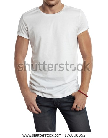 Man wearing blank white t-shirt. Isolated on white.