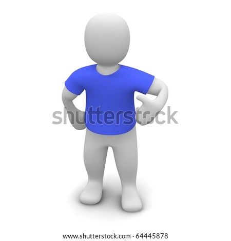 Man wearing blue t-shirt. 3d rendered illustration. - stock photo
