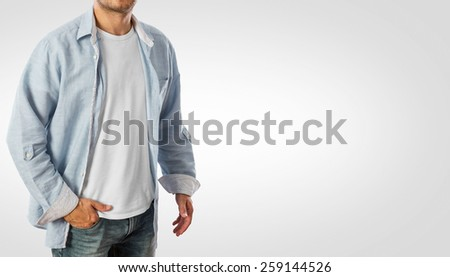 Man wearing casual shirt -Clipping path included - stock photo