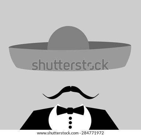 man wearing gray sombrero and large mustache - stock photo