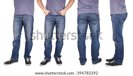 Man wearing jeans and shoes isolated on white background - stock photo