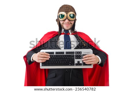 Man wearing red clothing in funny concept - stock photo