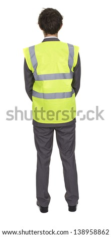 Man Wearing Security Jacket Isolated Over White Background