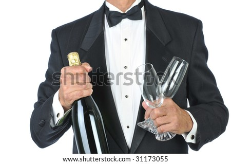 Man Wearing Tuxedo Holding Champagne Bottle and Glasses torso only isolated on white - stock photo