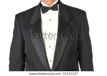 Man Wearing Tuxedo Torso only isolated on White - stock photo