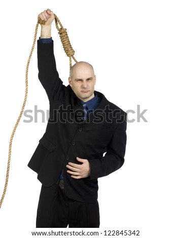 Man wears a noose around his neck - stock photo