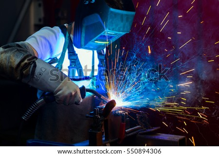 man welding metal in the factory