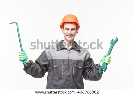 Man White Background tool wrench service builder professional - stock photo
