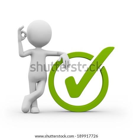 Man white green check-mark on white background - stock photo