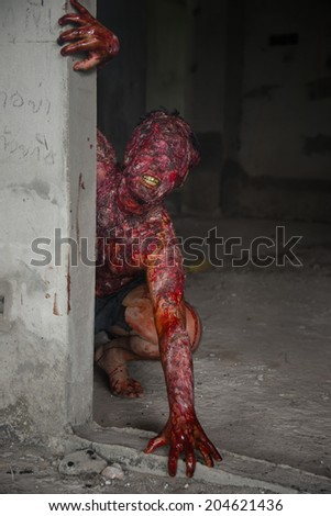 Man who burned the Horror of a in an abandoned building - stock photo