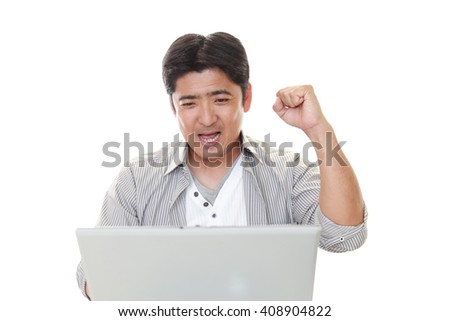 Man who enjoy the laptop computer