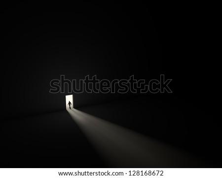man who found exit - stock photo