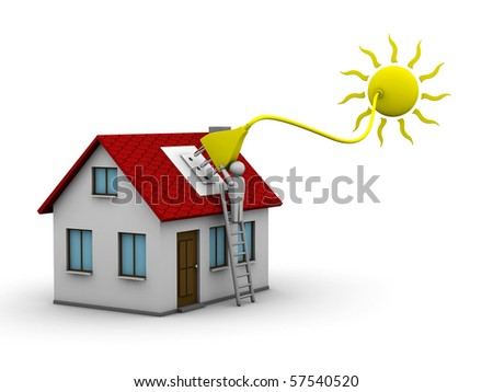 man who installs a solar energy system on a house - stock photo
