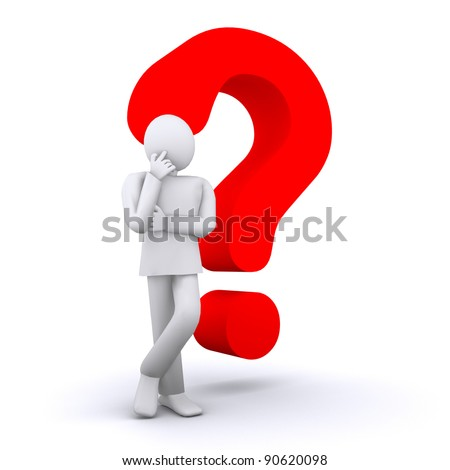 man who thinks can not answer the question - stock photo