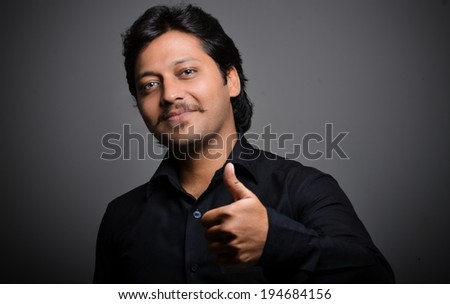 man wih expression - stock photo