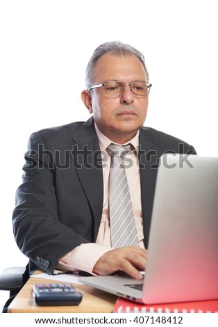 man wirh glasses work on laptop isolated on white