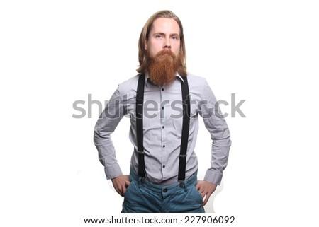 Man with a beard - stock photo